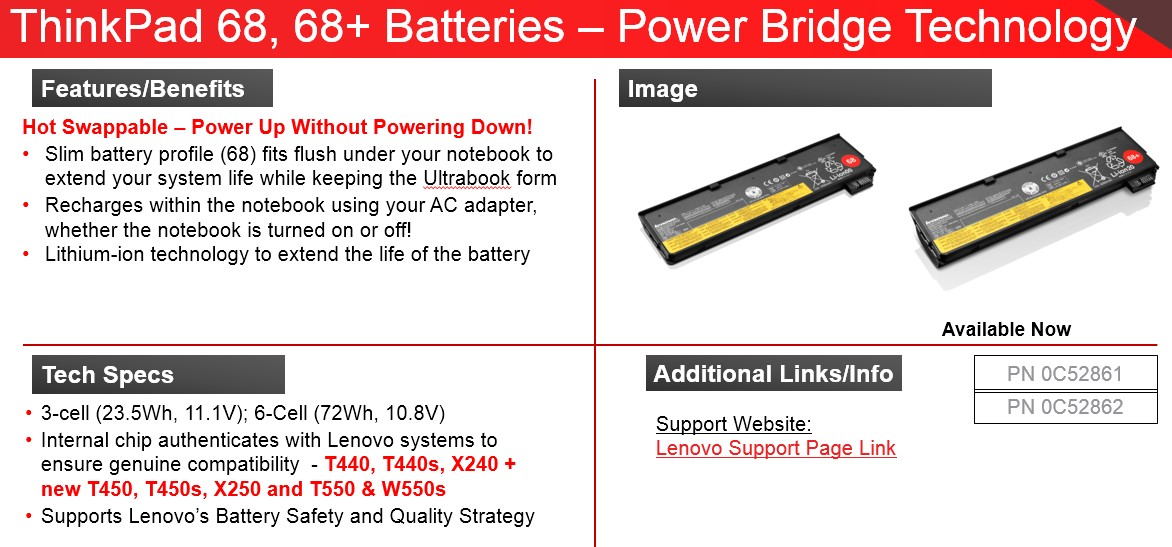 6cell 72Wh LENOVO ThinkPad Battery 68